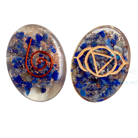 Orgone Engraved Throat Chakra Oval Cabochon