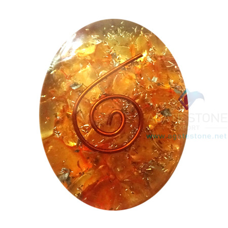 Orgone Orange Onyx Energy Oval Cabochon