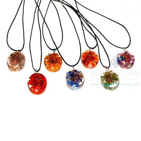 Oval Pendant Chakra Orgone Set With Cord