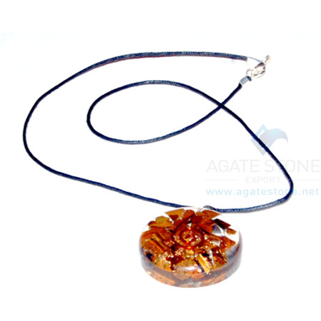 Red Jasper Orgone Disc Pendant With Cord