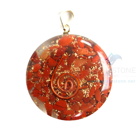 Red Jasper Orgone Disc Pendant