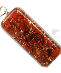 Red Jasper Orgone Long Rectangle Pendant