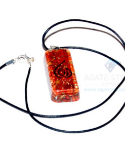 Red Jasper Orgone Long Rectangle Pendant With Cord