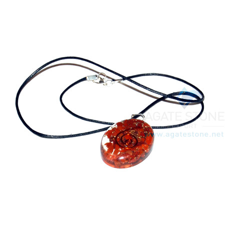 Red Jasper Orgone Oval Pendant With Cord