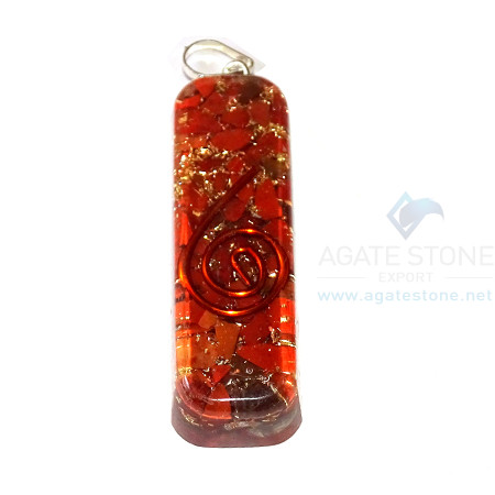 Red Jasper Orgone Pipe Pendant