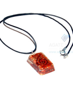 Red Jasper Orgone Rectangle Pendant With Cord