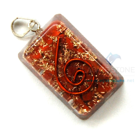 Red Jasper Orgone Rectangle Pendant