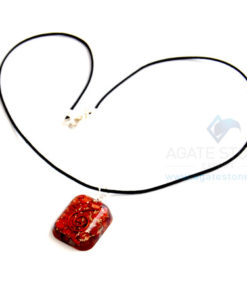 Red Jasper Orgone Square Pendant With Cord