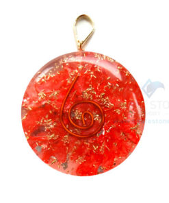 Red Onyx Orgone Disc Pendant