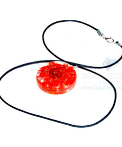 Red Onyx Orgone Disc Pendant With Cord