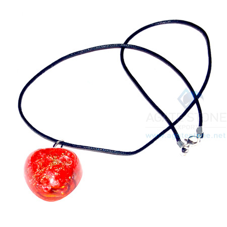 Red Onyx Orgone Heart Pendant With Cord