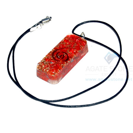 Red Onyx Orgone Long Rectangle Pendant With Cord