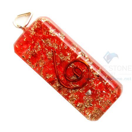 Red Onyx Orgone Long Rectangle Pendant