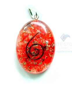 Red Onyx Orgone Oval Pendant
