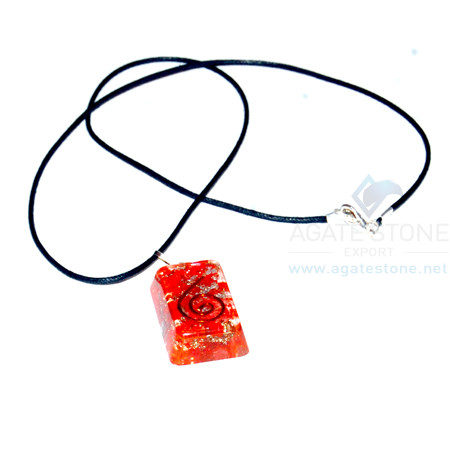 Red Onyx Orgone Rectangle Pendant With Cord