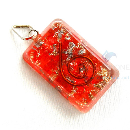 Red Onyx Orgone Rectangle Pendant