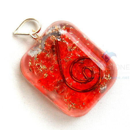 Red Onyx Orgone Square Pendant