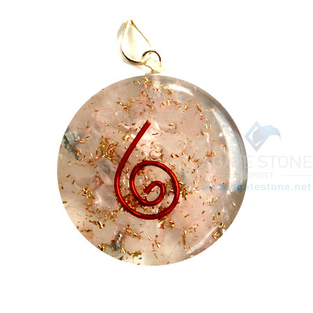 Rose Quartz Orgone Disc Pendant