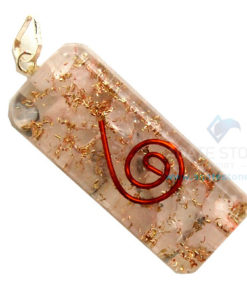 Rose Quartz Orgone Long Rectangle Pendant