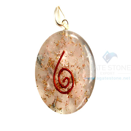 Rose Quartz Orgone Oval Pendant