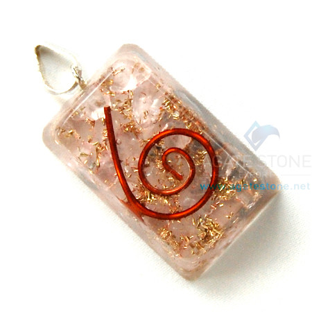 Rose Quartz Orgone Rectangle Pendant