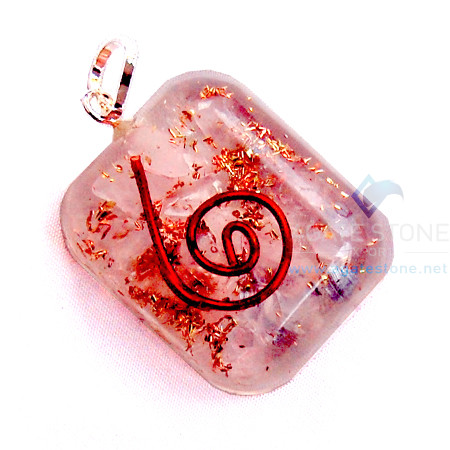 Rose Quartz Orgone Square Pendant