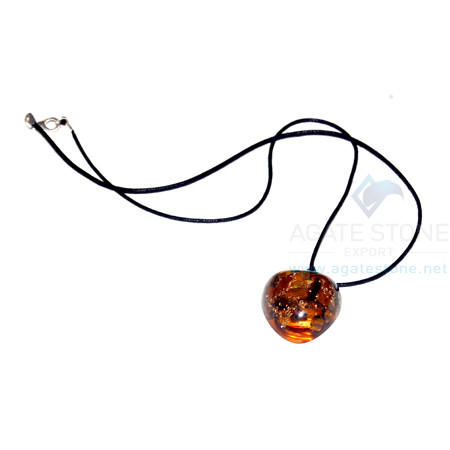 Tiger Eye Orgone Heart Pendant With Cord