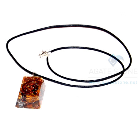 Tiger Eye Orgone Rectangle Pendant With Cord