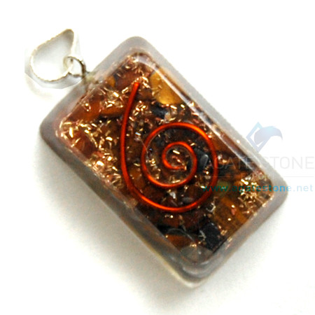 Tiger Eye Orgone Rectangle Pendant