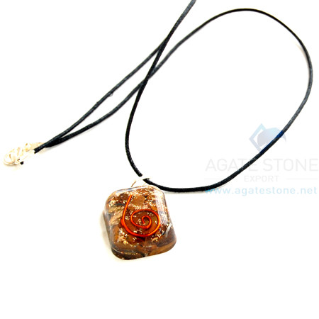 Tiger Eye Orgone Square Pendant With Cord