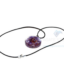 Violet Onyx Orgone Disc Pendant With Cord