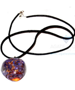 Violet Onyx Orgone Heart Pendant With Cord