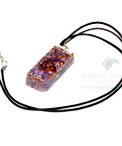 Violet Onyx Orgone Long Rectangle Pendant With Cord