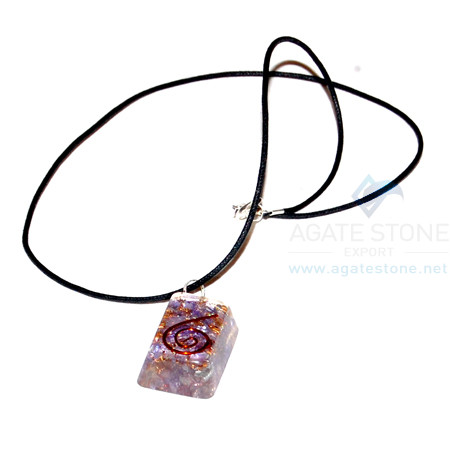 Violet Onyx Orgone Rectangle Pendant With Cord