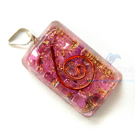 Violet Onyx Orgone Retangle Pendant