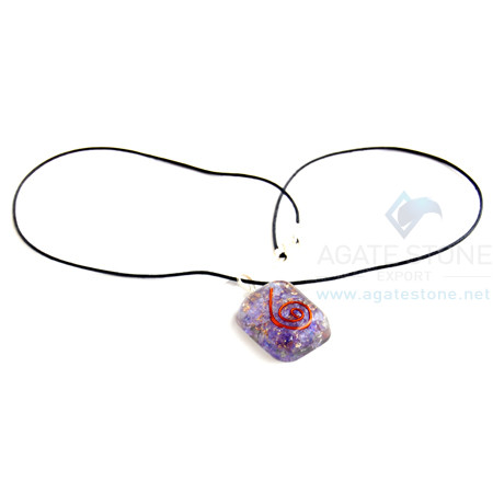 Violet Onyx Orgone Square Pendant With Cord