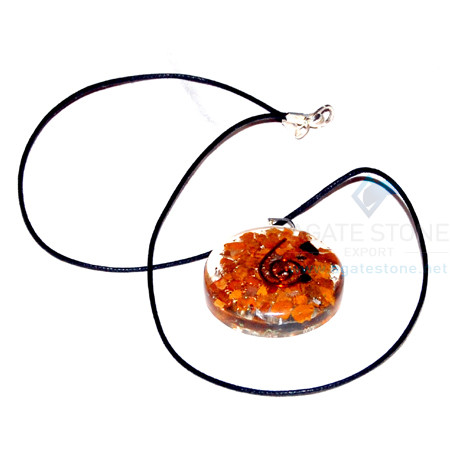Yellow Jasper Orgone Disc Pendant With Cord