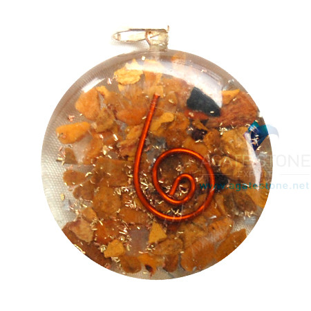 Yellow Jasper Orgone Disc Pendant