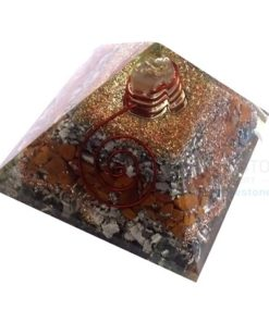 Yellow Jasper Orgone Layer Aluminium Pyramid With Point