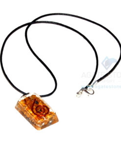 Yellow Jasper Orgone Rectangle Pendant With Cord