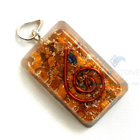 Yellow Jasper Orgone Retangle Pendant