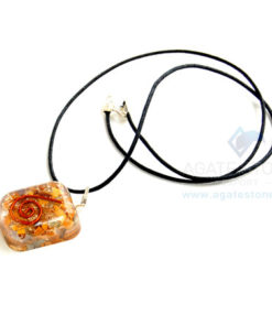 Yellow Jasper Orgone Square Pendant With Cord