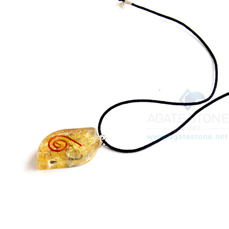 Yellow Onyx Orgone Eye Pendant With Cord