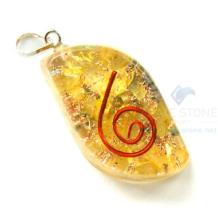 Yellow Onyx Orgone Eye Pendant