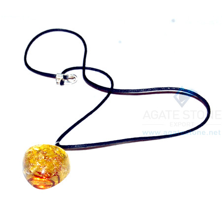 Yellow Onyx Orgone Heart Pendant With Cord