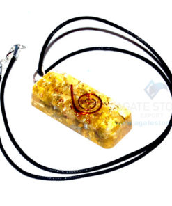 Yellow Onyx Orgone Long Rectangle Pendant With Cord