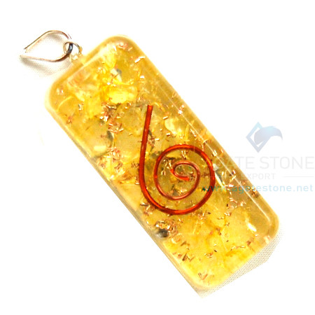 Yellow Onyx Orgone Long Rectangle Pendant