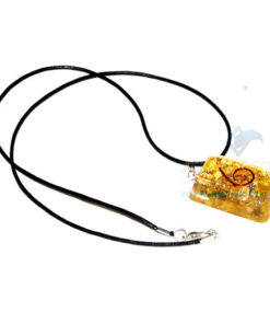 Yellow Onyx Orgone Retangle Pendant With Cord
