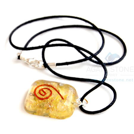 Yellow Onyx Orgone Square Pendant With Cord