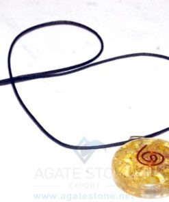 Yellow Orgone Disc Pendant With Cord